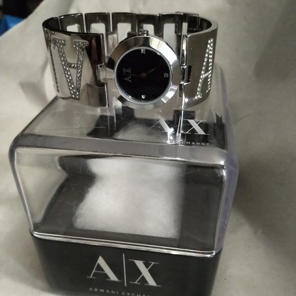 Armani Exchange Rhinestone Silver Tone Watch